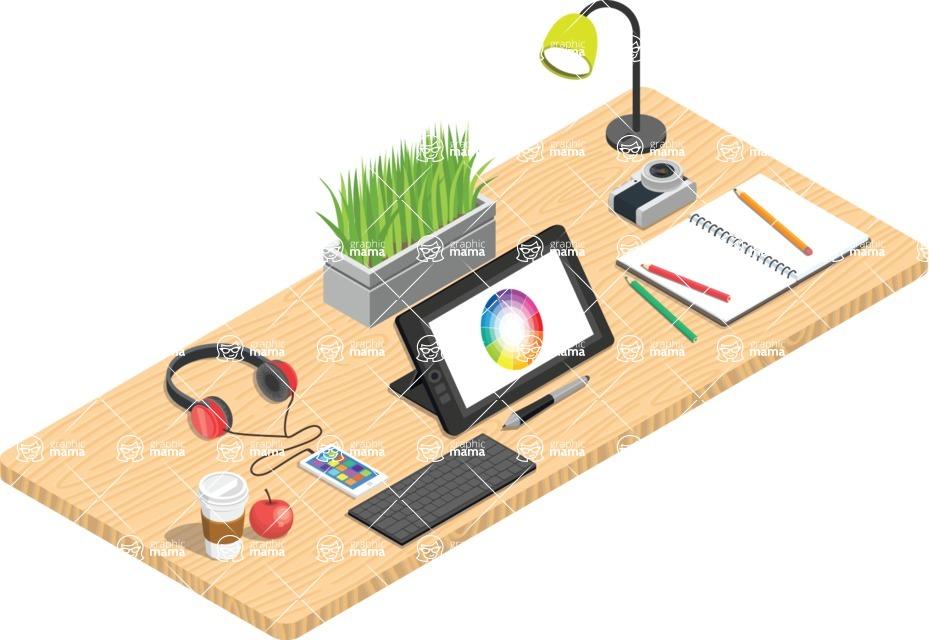 Vector Office Desk Graphic Maker - Illustrator's Desk