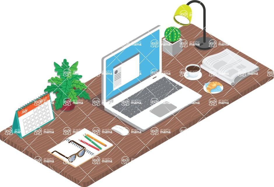 Vector Office Desk Graphic Maker - Freelancer Desk