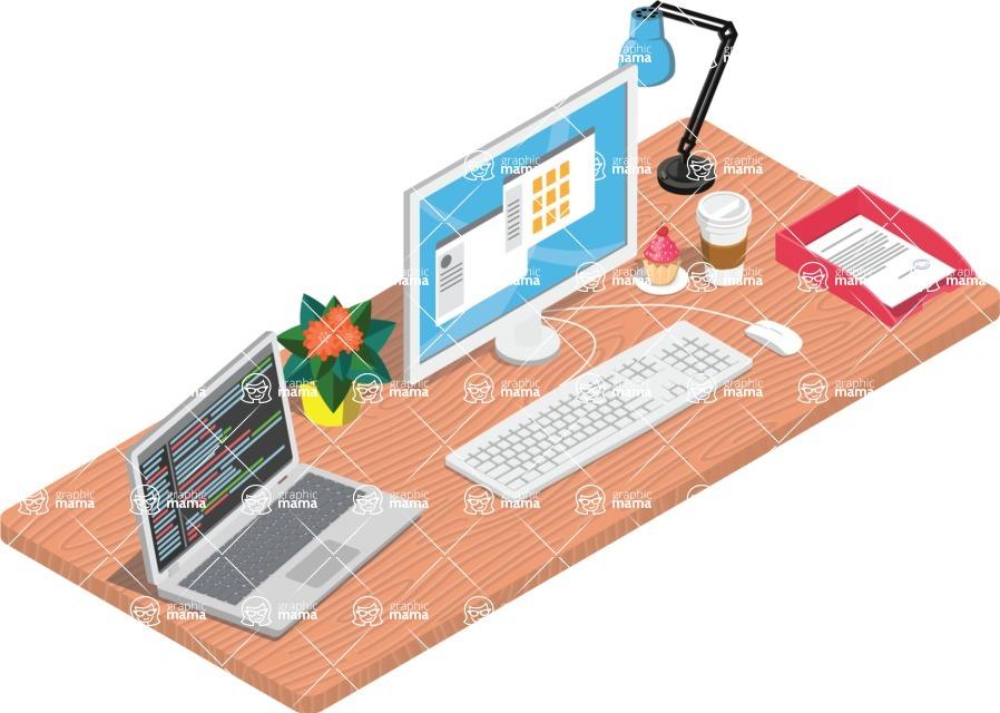 Vector Office Desk Graphic Maker - Multi devices desk