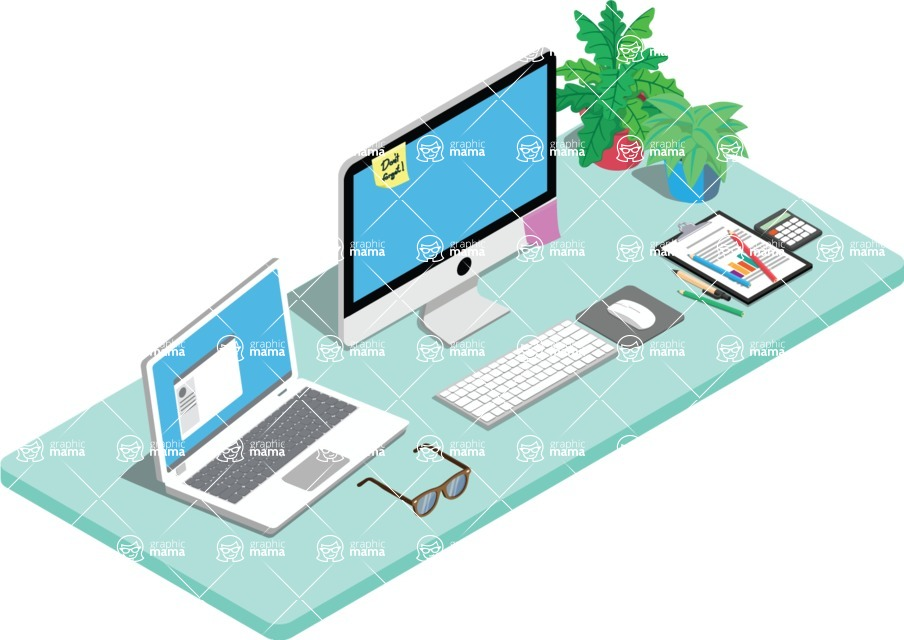 Vector Office Desk Graphic Maker - Manager's Desk