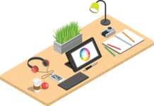 Vector Office Desk Graphic Maker - Illustrator's Desk