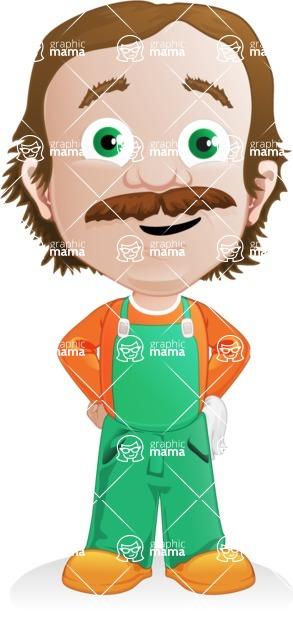 Builder Man Cartoon Vector Character AKA Marcelino Toolbox - Normal