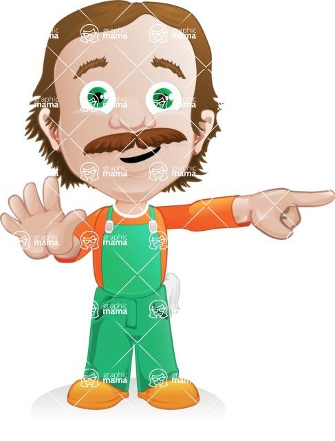 Builder Man Cartoon Vector Character AKA Marcelino Toolbox - Direct Attention 1