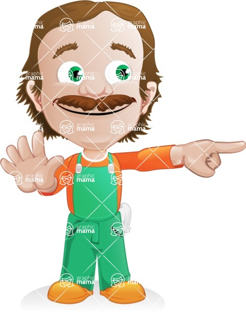 Builder Man Cartoon Vector Character AKA Marcelino Toolbox - Direct Attention 2