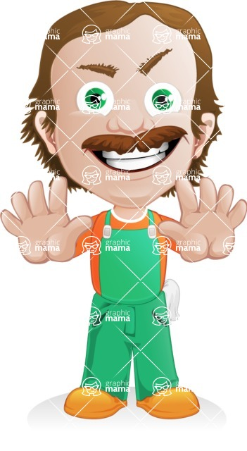 Builder Man Cartoon Vector Character AKA Marcelino Toolbox - Stop 2