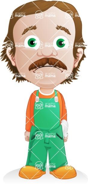 Builder Man Cartoon Vector Character AKA Marcelino Toolbox - Sad 1