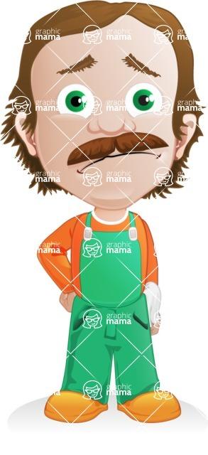 Builder Man Cartoon Vector Character AKA Marcelino Toolbox - Sad 2