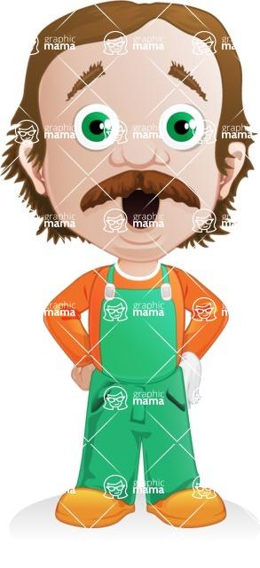 Builder Man Cartoon Vector Character AKA Marcelino Toolbox - Shocked