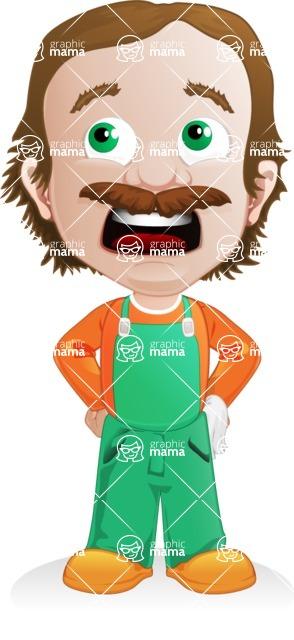 Builder Man Cartoon Vector Character AKA Marcelino Toolbox - Roll Eyes