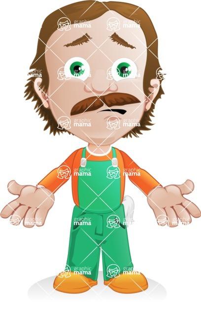 Builder Man Cartoon Vector Character AKA Marcelino Toolbox - Lost 1