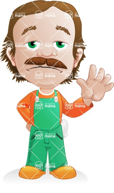 Builder Man Cartoon Vector Character AKA Marcelino Toolbox - Goodbye