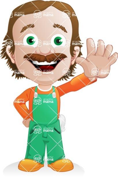 Builder Man Cartoon Vector Character AKA Marcelino Toolbox - Hello