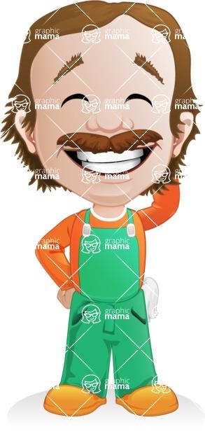Builder Man Cartoon Vector Character AKA Marcelino Toolbox - Oops