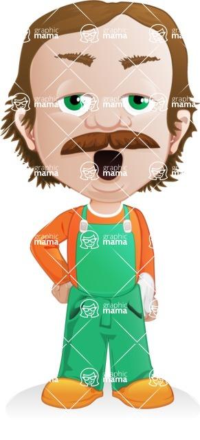 Builder Man Cartoon Vector Character AKA Marcelino Toolbox - Bored 1