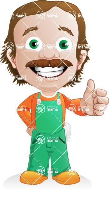 Builder Man Cartoon Vector Character AKA Marcelino Toolbox - Thumbs Up