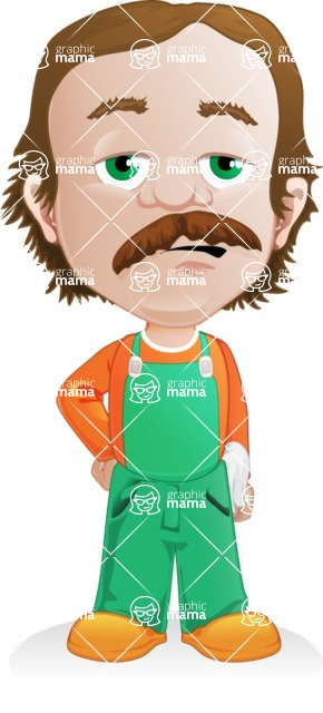 Builder Man Cartoon Vector Character AKA Marcelino Toolbox - Bored 2