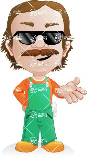 Builder Man Cartoon Vector Character AKA Marcelino Toolbox - Sunglasses 1