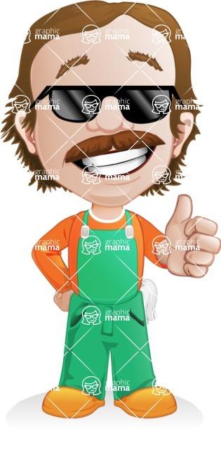 Builder Man Cartoon Vector Character AKA Marcelino Toolbox - Sunglasses 2