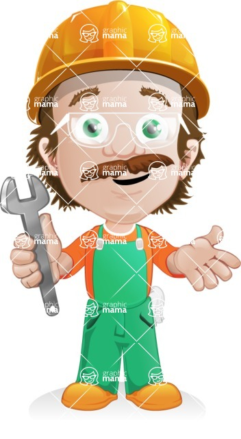 Builder Man Cartoon Vector Character AKA Marcelino Toolbox - Under Construction 1