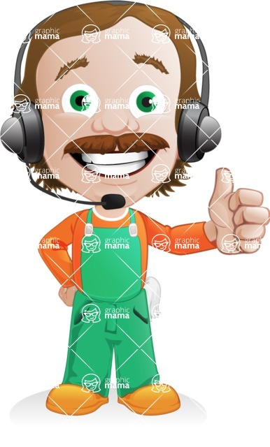 Builder Man Cartoon Vector Character AKA Marcelino Toolbox - Support 2