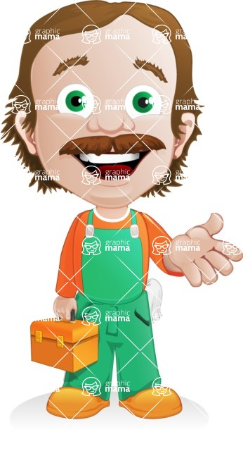Builder Man Cartoon Vector Character AKA Marcelino Toolbox - Briefcase 2