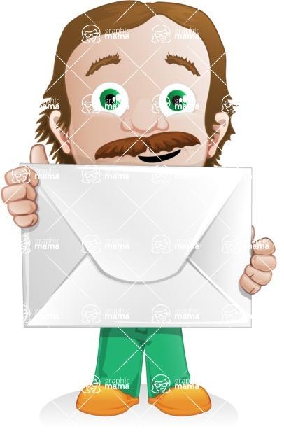 Builder Man Cartoon Vector Character AKA Marcelino Toolbox - Letter