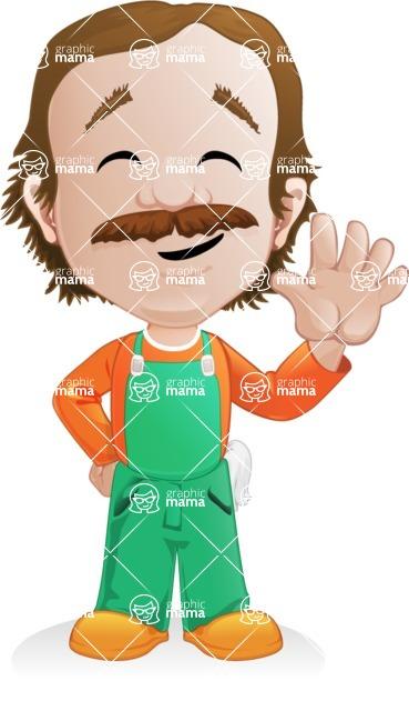 Builder Man Cartoon Vector Character AKA Marcelino Toolbox - Wave