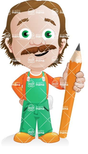 Builder Man Cartoon Vector Character AKA Marcelino Toolbox - Pencil