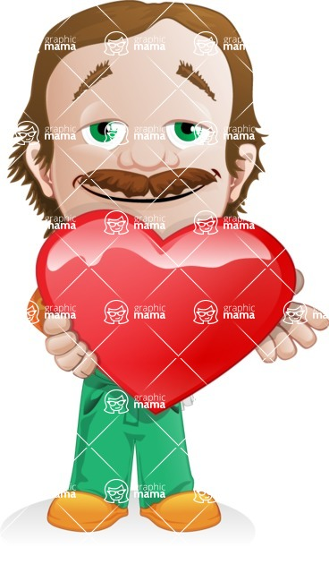 Builder Man Cartoon Vector Character AKA Marcelino Toolbox - Love