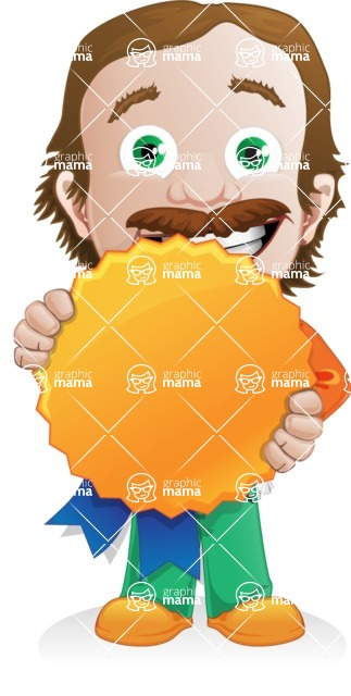 Builder Man Cartoon Vector Character AKA Marcelino Toolbox - Ribbon