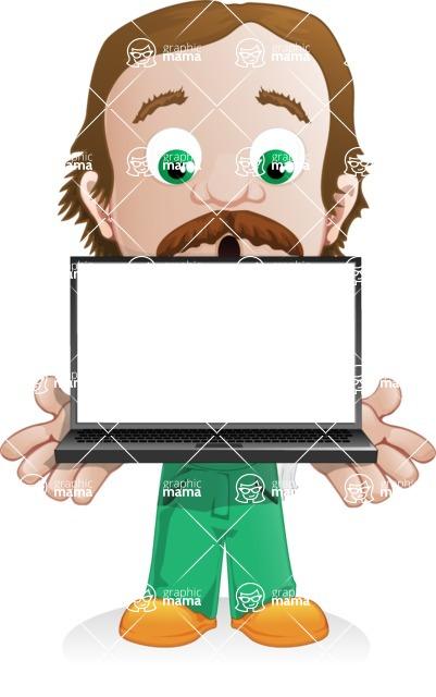 Builder Man Cartoon Vector Character AKA Marcelino Toolbox - Laptop 2