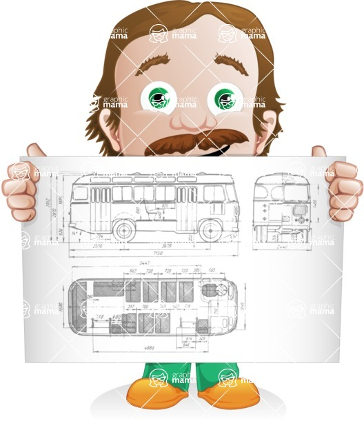 Builder Man Cartoon Vector Character AKA Marcelino Toolbox - Plans 1