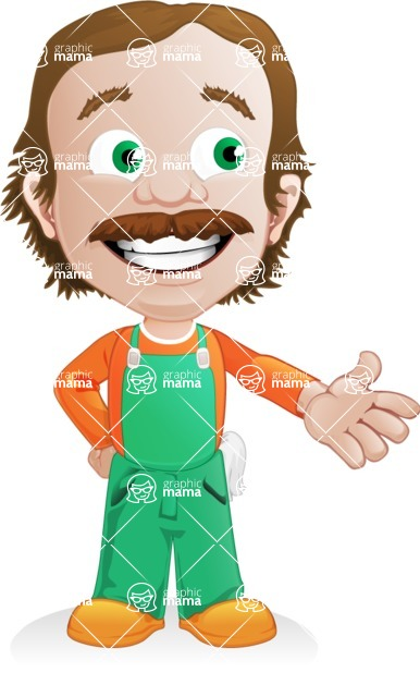 Builder Man Cartoon Vector Character AKA Marcelino Toolbox - Show 2