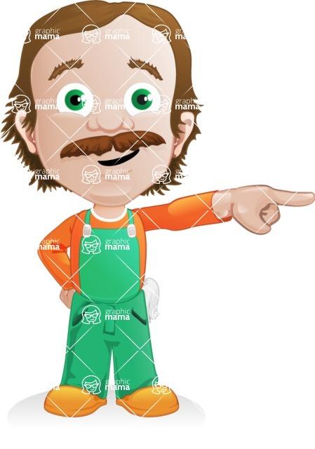 Builder Man Cartoon Vector Character AKA Marcelino Toolbox - Point 1