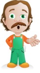 Builder Man Cartoon Vector Character AKA Marcelino Toolbox - Confused