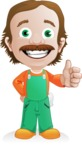 Builder Man Cartoon Vector Character AKA Marcelino Toolbox - Thumbs Up