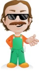 Builder Man Cartoon Vector Character AKA Marcelino Toolbox - Sunglasses 1