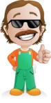 Builder Man Cartoon Vector Character AKA Marcelino Toolbox - Sunglasses 2