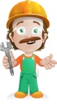 Builder Man Cartoon Vector Character AKA Marcelino Toolbox - Under Construction 1