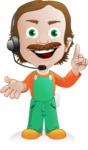 Builder Man Cartoon Vector Character AKA Marcelino Toolbox - Support 1
