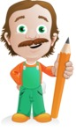 Builder Man Cartoon Vector Character AKA Marcelino Toolbox - Pencil