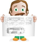 Builder Man Cartoon Vector Character AKA Marcelino Toolbox - Plans 1