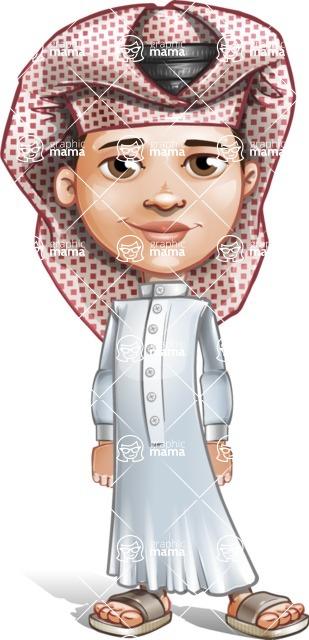 Little Muslim Boy Cartoon Vector Character AKA Nabil - Normal