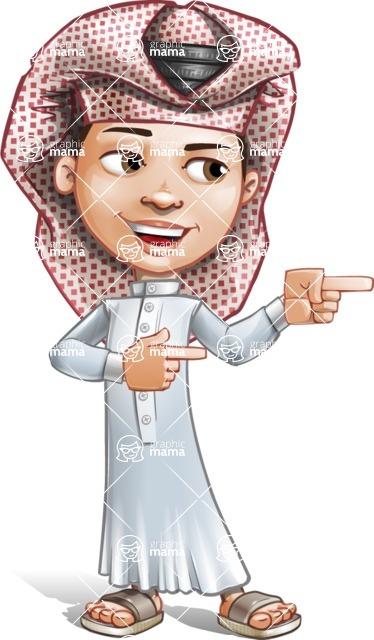 Little Muslim Boy Cartoon Vector Character AKA Nabil - Point 2