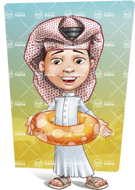 Little Muslim Boy Cartoon Vector Character AKA Nabil - Shape 10