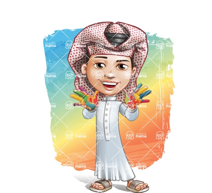 Little Muslim Boy Cartoon Vector Character AKA Nabil - Shape 12