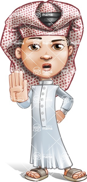 Little Muslim Boy Cartoon Vector Character AKA Nabil - Stop 2