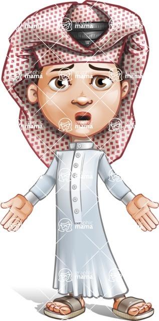 Little Muslim Boy Cartoon Vector Character AKA Nabil - Stunned