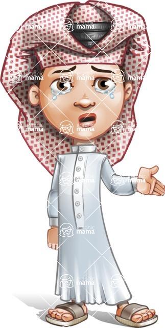 Little Muslim Boy Cartoon Vector Character AKA Nabil - Sad 2