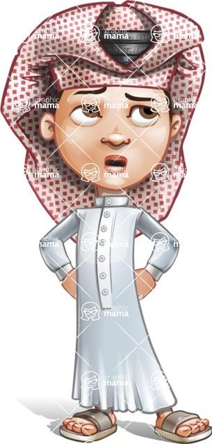 Little Muslim Boy Cartoon Vector Character AKA Nabil - Roll Eyes